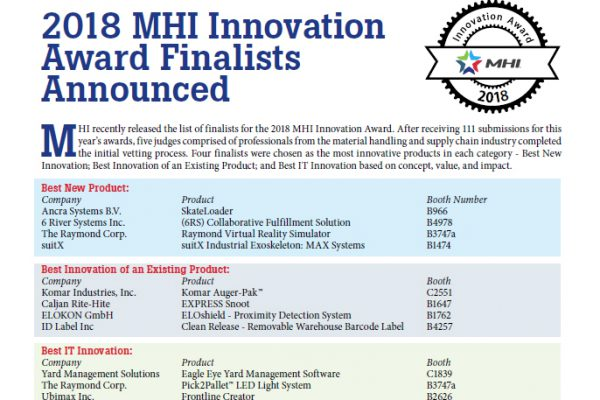 2018 MHI Innovation Award Finalists